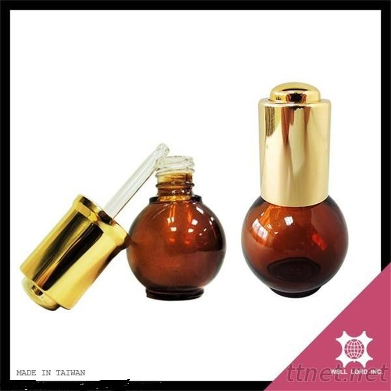 cosmetics oil bottle with amber dropper application