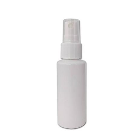 Useful empty 50ml cylinder shape plastic PET bottle solid white color with ribbed collar plastic sprayer and transparent cap